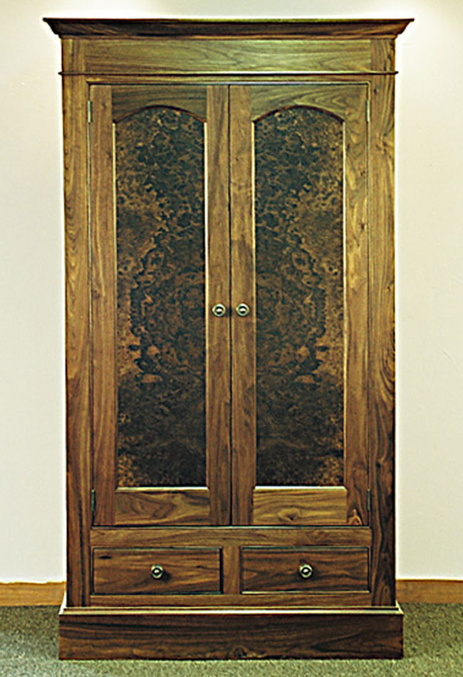 Traditional Cabinet Built For An Older Home That Didnu0027t Have A Coat Closet.  Walnut Burl Door Panels Are Arched And Antique Brass Hardware Is Used.